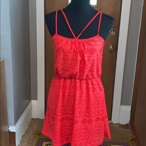 Red dress with lace cutouts like new!